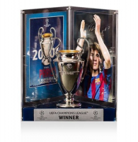"Lionel ""Leo"" Messi Signed Barcelona 2006 UEFA Replica Trophy Display (Icons COA) at PristineAuction.com"