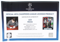 """Lionel """"Leo"""" Messi Signed Barcelona 2006 UEFA Replica Trophy Display (Icons COA) at PristineAuction.com"""