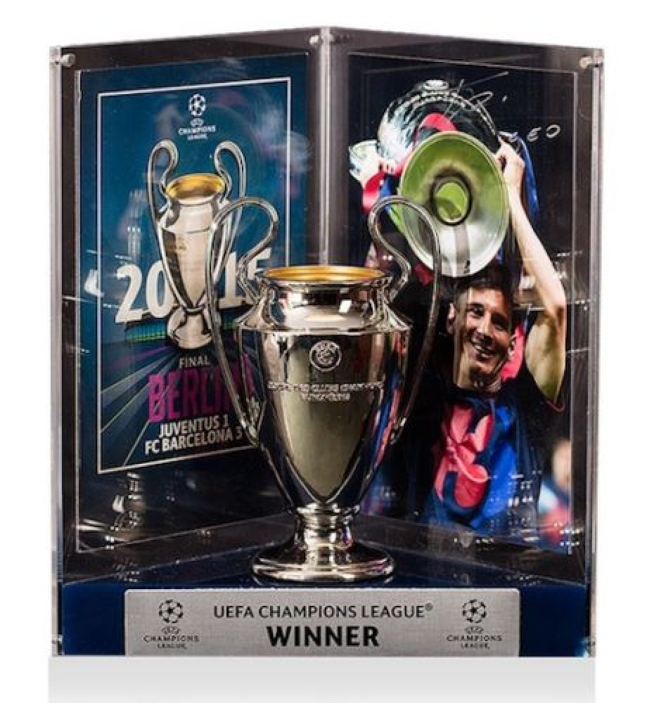 Lionel Leo Messi Signed Barcelona 2015 UEFA Replica Trophy Display Icons COA