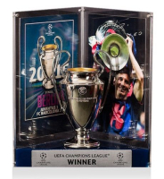 "Lionel ""Leo"" Messi Signed Barcelona 2015 UEFA Replica Trophy Display (Icons COA) at PristineAuction.com"