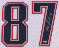 Rob Gronkowski Signed Patriots 35x43 Custom Framed Jersey Display (Beckett COA) at PristineAuction.com