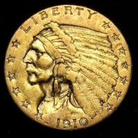 1910 $2.50 Indian Head Quarter Eagle Gold Coin (High Grade Condition) at PristineAuction.com