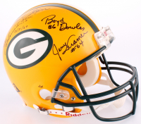 LE Packers Full-Size Helmet Team Signed by (10) 1960's Packers with Bart Starr, Paul Hornung, Max McGee, Willie Wood, Don Horn with Multiple Inscriptions (JSA ALOA)