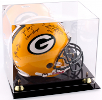 Brett Favre, Aaron Rodgers & Bart Starr Signed & Inscribed Packers Full-Size Authentic On-Field Helmet with Display Case (JSA ALOA)
