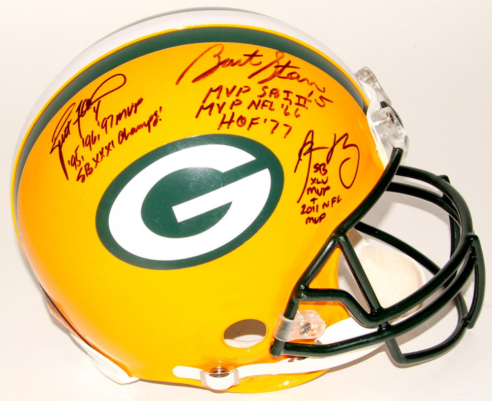 f484d417 Brett Favre, Bart Starr & Aaron Rodgers Signed Packers Full-Size Authentic  On-