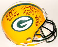 Brett Favre, Bart Starr & Aaron Rodgers Signed Packers Full-Size Authentic On-Field Helmet with Career Stat Inscriptions (JSA ALOA)
