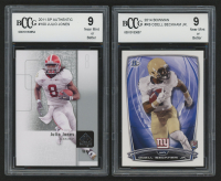 Lot of (2) Graded Football Cards with  2011 SP Authentic #100 Julio Jones & 2014 Bowman #R8 Odell Beckham Jr. RC (BCCG 9) at PristineAuction.com