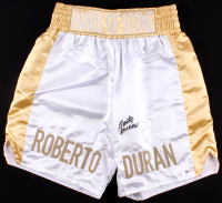 "Roberto Duran Signed Custom ""Hands of Stone"" Boxing Trunks (Beckett COA)"
