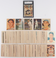 1957 Topps Complete Set of (421) Baseball Cards with #407 Yankees Power Hitters / Mickey Mantle / Yogi Berra (SGC 2), #328 Brooks Robinson, #302 Sandy Koufax, #95 Mickey Mantle, #10 Willie Mays, #1 Ted Wlliams