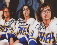 "Dave Hanson, Steve Carlson & Jeff Carlson Signed ""Slap Shot"" 8x10 Photo (JSA COA) at PristineAuction.com"