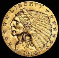 1910 $2.50 Indian Head Quarter Eagle Gold Coin (High Grade Condition)