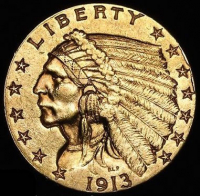 1913 $2.50 Indian Head Quarter Eagle Gold Coin (High Grade Condition)