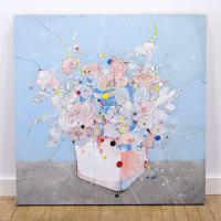 """Pardon"" 36x36x2 Original Floral Art by Jimmi Toro"