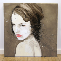 """""""Solemn"""" 36x36x2 Original Portrait Art by Jimmi Toro"""