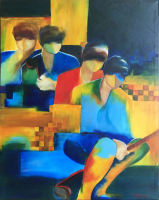 """Foursome"" 33x42x1.5 Original Abstract Art by Piekarczyk (Donna Flanagan)"
