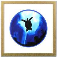 "Wyland Signed ""Turtle"" 30x30 Custom Framed Original Watercolor Painting at PristineAuction.com"