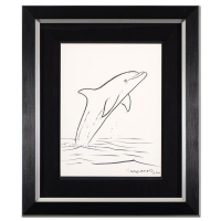 "Wyland Signed ""Dolphin"" 18x22 Custom Framed Original Sketch at PristineAuction.com"