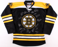 Bruins Jersey Signed by (17) with Zdeno Chara, Paul Postma, David Pastrnak, Danton Heinen (JSA Hologram)