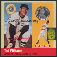 Ted Williams Signed Limited Edition Red Sox 6x6 Photo Display with Pure Silver Proof Coin (Williams COA)