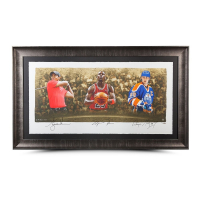 "Wayne Gretzky, Michael Jordan & Tiger Woods Signed ""Icons of Sport"" 34"" x 57"" Limited Edition Custom Framed Print (UDA COA)"