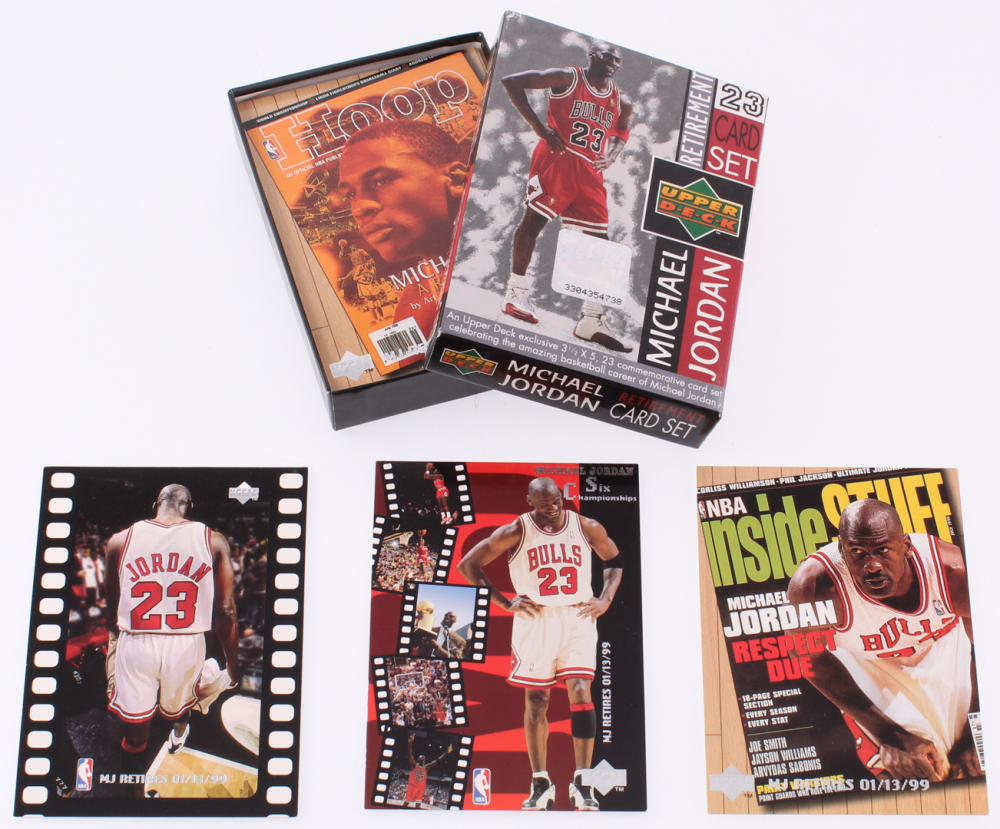 486c8d775b7 1999 Upper Deck Michael Jordan Retirement Set of (23) Commemorative  Basketball Cards