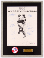 New York Yankees Team-Signed 1956 World Series Champions 21.25x28.25 Custom Framed Lithograph Display with (17) Signatures Including Yogi Berra, Phil Rizzuto, Enos Slaughter, Whitey Ford With Patch (PSA LOA)