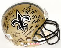 Super Bowl XLIV Saints Logo Authentic On-Field Helmet Signed by (13) with Drew Brees, Reggie Bush, Scott Fujita, Darren Sharper with Inscriptions (Gulf Coast Cards LOA)