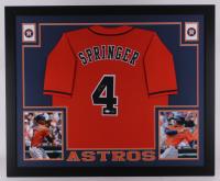 George Springer Signed Astros 35x43 Custom Framed Jersey (JSA COA & Springer Hologram)