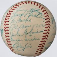 1952 Dodgers Vintage ONL Baseball Team-Signed by (23) with Jackie Robinson, Chuck Dressen, Pee Wee Reese, Andy Pafko, Rube Walker, Carl Erskine (JSA ALOA)