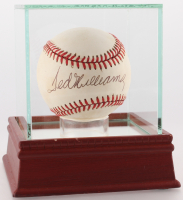 Ted Williams Signed OAL Baseball in High Quality Display Case (PSA LOA)