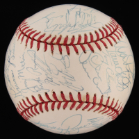 1996 Yankees World Series Championship OAL Baseball Team-Signed by (31) with Wade Boggs, Tim Raines, Derek Jeter, Mariano Rivera, Dwight Gooden (JSA LOA)