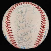 1996 Yankees World Series Championship OAL Baseball Team-Signed by (31) with Wade Boggs, Tim Raines, Derek Jeter, Mariano Rivera, Dwight Gooden (JSA LOA) at PristineAuction.com