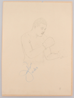 "Joe Louis Signed 9x12 Hand Drawn Sketch Inscribed ""6/10/48"" (JSA LOA)"
