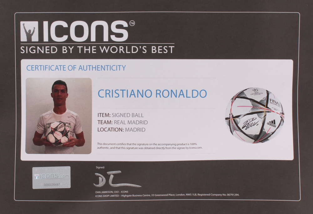8621d4cf34b Cristiano Ronaldo Signed Adidas Soccer Ball (Icons COA) at  PristineAuction.com