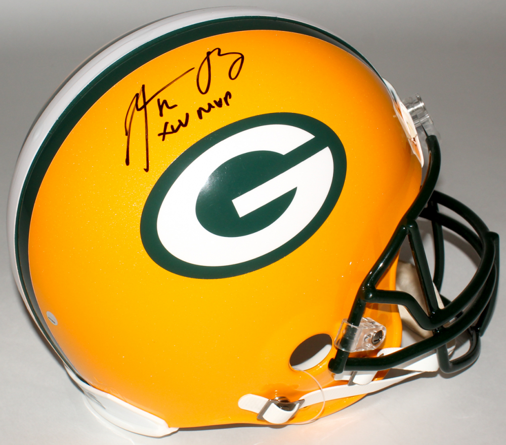 8c34e8923 Aaron Rodgers Signed Packers Full-Size Authentic On-Field Helmet Inscribed