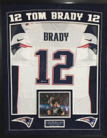Tom Brady Signed Patriots 35x43 Custom Framed Authentic Nike Jersey Display (TriStar Hologram)