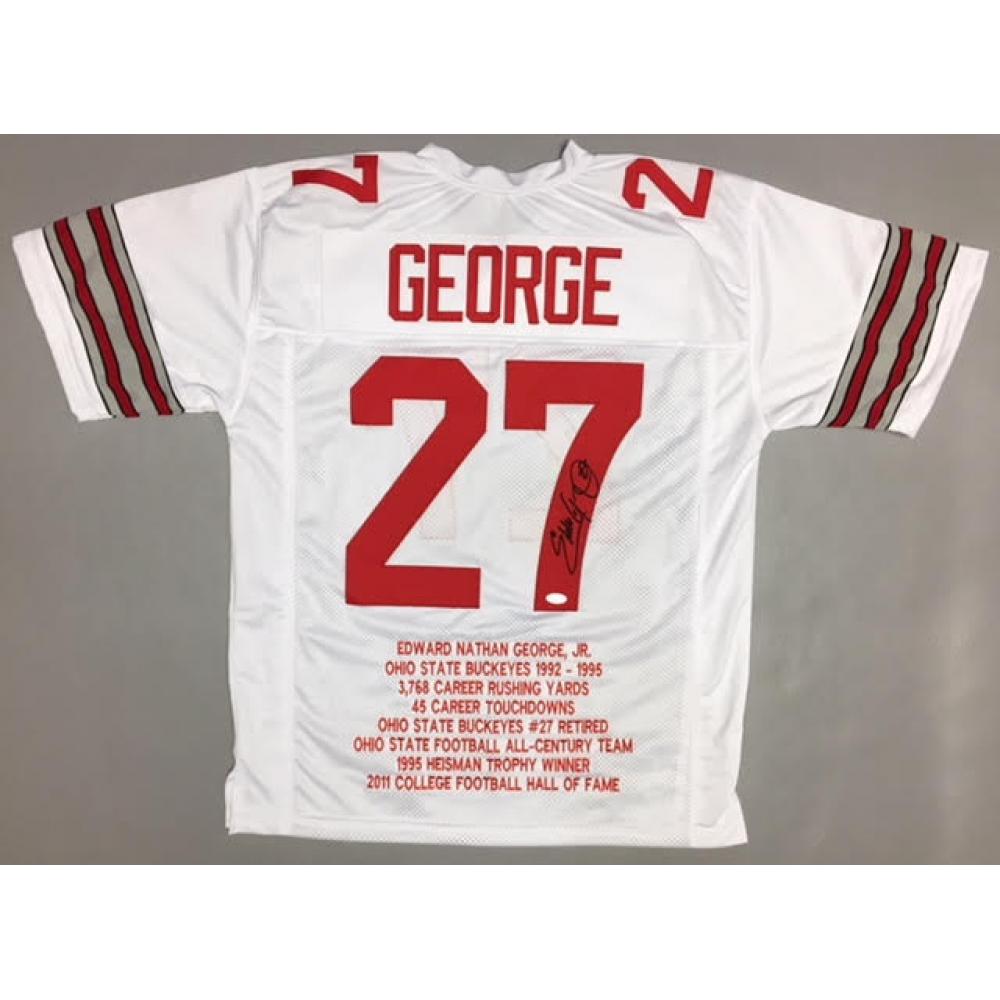 6c91f8ae0d6 Eddie George Signed Ohio State Buckeyes Career Highlight Stat Jersey (JSA  COA)