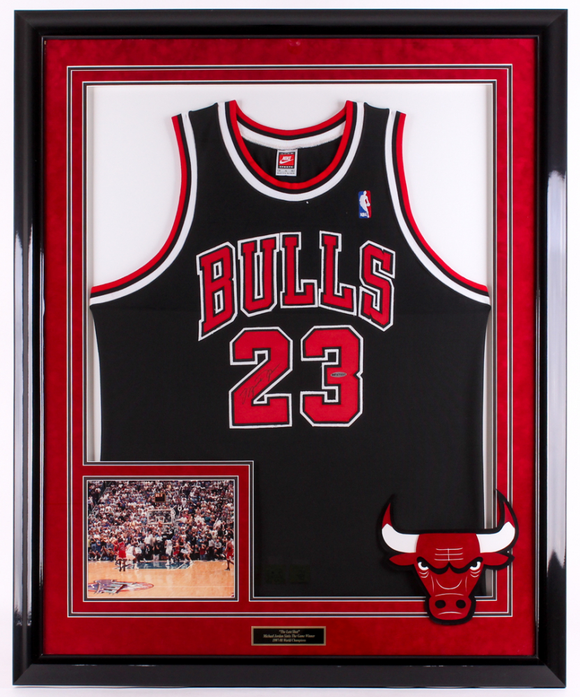 7d26d53d932 Michael Jordan Signed Bulls 35.5x43.5 Custom Framed Jersey Display (UDA COA)