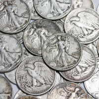 Lot of (10) 50¢ Silver Half Dollars with (8) Walking Liberty & (2) Franklin