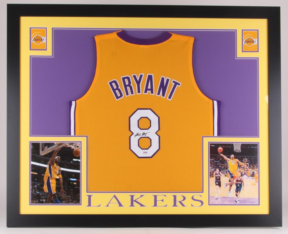 f3d557bce12d Kobe Bryant Signed Lakers 35x43 Custom Framed Jersey (PSA COA)(Imperfect)