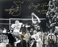 """Dwight Clark, Everson Walls & Michael Downs Signed LE """"The Catch"""" 16x20 Photo with Hand-Drawn Play (Gridiron Legends COA & Clark Hologram)"""