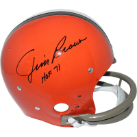 "Jim Brown Signed Browns Full-Size TK Throwback Helmet Inscribed ""HOF 71"" (Steiner COA & Fanatics Hologram)"
