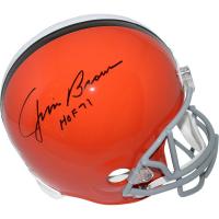 "Jim Brown Signed Browns Full-Size Throwback Helmet Inscribed ""HOF 71"" (Steiner COA & Fanatics Hologram)"