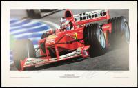 "Michael Schumacher Signed LE 21x33 Ferrari F1 ""Fly Shumi Fly!"" Lithograph (JSA LOA)"
