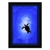 "Wyland Signed ""Turtle"" 20x28 Custom Framed Original Watercolor Painting"