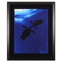 "Wyland Signed ""Two Turtles"" 32x39 Custom Framed Original Watercolor Painting"