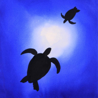 "Wyland Signed ""Two Turtles"" 32x39 Custom Framed Original Watercolor Painting at PristineAuction.com"