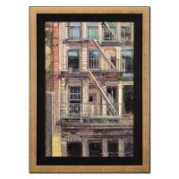 "Alex Zwarenstein Signed ""Old Soho Facade"" 36x26 Custom Framed Original Oil Painting on Canvas"