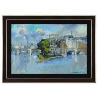 "Alex Zwarenstein Signed ""Bridge In Paris"" 44x31 Custom Framed Original Oil Painting on Canvas"