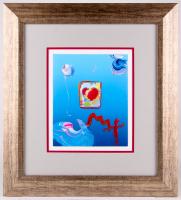 "Peter Max ""Heart Series"" Signed 8.5"" x 11"" Original Acrylic Mixed Media Painting 1/1 (Custom Framed to 21"" x 23"") (Max LOA)"